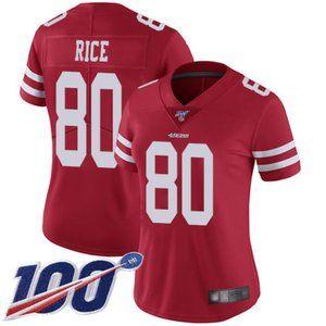 Women 49ers Jerry Rice 100th Season Jersey stitch